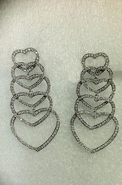 From Esther Gallant, Dripping with Diamonds Swingy Hearts Earrings. 18K