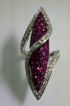 Diamond and Ruby Bullet Ring. From Esther Gallant Collection