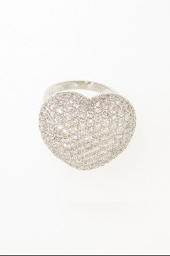 Huge Domed Diamond Heart Ring