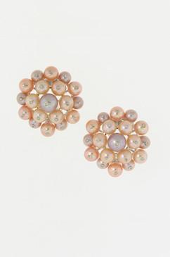 Diamond Studded Peach and Lavender Pearl Earrings.  14k.