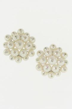 Diamond Studded White Pearl Earrings.  14K.