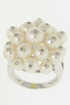 Diamond Studded White Pearl Ring.  14K