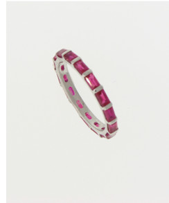 Ruby Baguette Eternity Band. 18K White Gold.          Esther Gallant Collection.