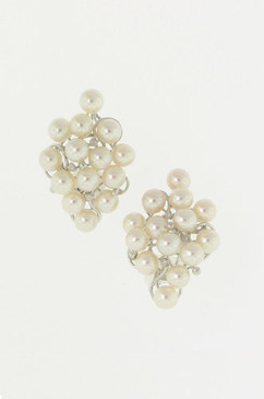 Clustered Pearl Earrings with Diamond Accents.  14K.