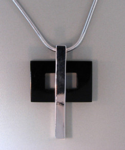 Contemporary Onyx and Sterling Silver Cross on 18 inch Sterling Silver Snake Chain. Exclusive.