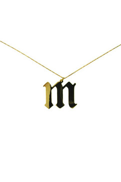 Gothic Style letters. Big and Bold.On 18-21 inch chain.Gold over Sterling Silver