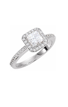 Princess Diamond Halo Ring