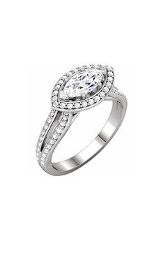 Floating Marquise Diamond Halo Ring