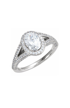 Oval Halo Double Shank Diamond Ring.   With different size center stones, the complete ring starts at $7500.