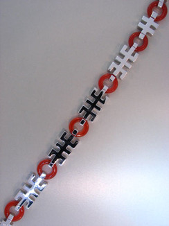 Black Onyx, Carnelian, and Sterling Silver Good Luck Symbol Bracelet.  Exclusive.