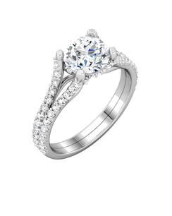 Soaring Diamond Prongs Ring in Platinum.