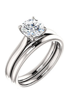 Classically Elegant Round Brilliant Solitaire Engagement and Wedding Ring Set