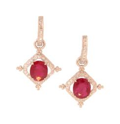 Ruby and Diamond Drop on Diamond Hoop Earrings