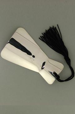 Personal Engraveable Sterling Silver Shoe Horn with Silken BlackTassle.