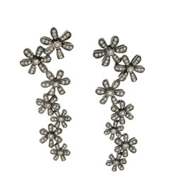 Blackened Gold Diamond Floral Garland Drop Earrings