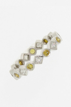 Natural Yellow Diamonds alternating  White Diamonds Eternity Band