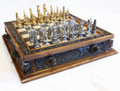 24kt gold & Pewter Chess Set, with Aztec Board