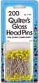 Quilter's Glass Head Pins - 200 pack