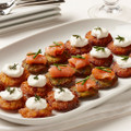Elegant sweet potato miniature latke.   Units/case: 200