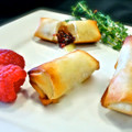 Raspberry, Toasted Almonds & Brie in Phyllo Roll
