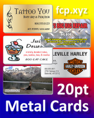 "Full Color Metal Business Cards, 2""x3.5"" Printed 1 Side on 20pt Aluminum, Qty 500"