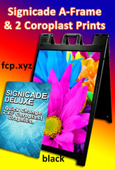 signicade a frame deluxe with coroplast prints and matte lamination color black