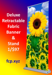 Deluxe Retractable Textile Banner Stand with Full Color Custom Insert