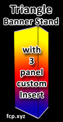"Triangle banner stand with your custom full color insert on matte or gloss banner , 33"" x 81"", Qty 15 (art can be different)"