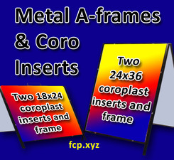 """Metal A-Frame with two replaceable coroplast full color inserts, 24"""" x 36"""", Qty 4 (art can be different)"""