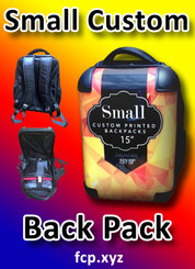 "Custom printed back pack small with your custom full color , 15"", Qty 1"