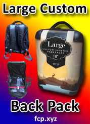 "Custom printed back pack large with your custom full color , 18"", Qty 25 (art can be different)"