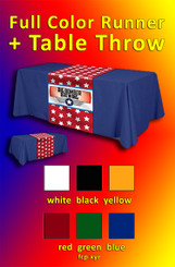 """Full color dye sub. table runner AND  8 foot solid color table throw  with your custom art, 48"""" x 72"""", Qty 4, art can be different."""