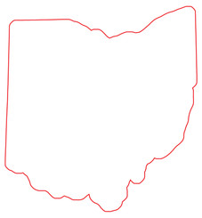 Outline of the state of Ohio. Red line is cut line for shape cut coro