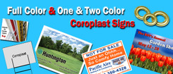 """1000 18"""" wide x 12"""" tall 2 side full color coroplast signs, no bleed price, includes half frames and ship, $2122"""