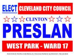 Coroplast Yard Signs for Clinto Presland for Cleveland City Council Electio