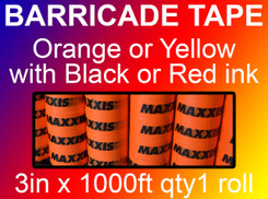 custom barricade tape 3in x 1000ft qty1 roll