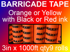 custom barricade tape 3in x 1000ft qty9 rolls
