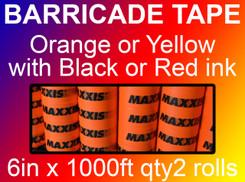 custom barricade tape 6in x 1000ft qty2 rolls
