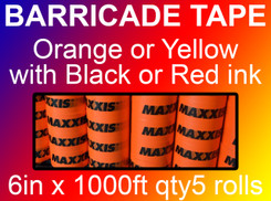 custom barricade tape 6in x 1000ft qty5 rolls