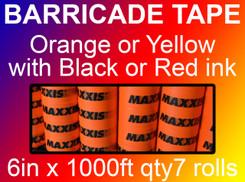 custom barricade tape 6in x 1000ft qty7 rolls