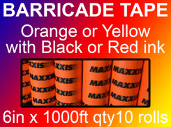 custom barricade tape 6in x 1000ft qty10 rolls
