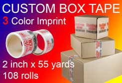 custom box tape 3 Color Imprint 2 inch x 55 yards 108 rolls
