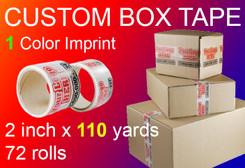 custom box tape 1 Color Imprint 2 inch x 110 yards 72 rolls