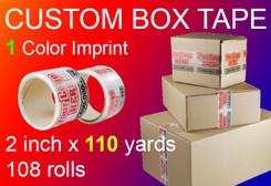 custom box tape 1 Color Imprint 2 inch x 110 yards 108 rolls