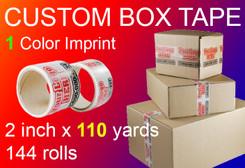 custom box tape 1 Color Imprint 2 inch x 110 yards 144 rolls