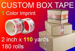 custom box tape 1 Color Imprint 2 inch x 110 yards 180 rolls