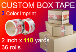 custom box tape 3 Color Imprint 2 inch x 110 yards 36 rolls