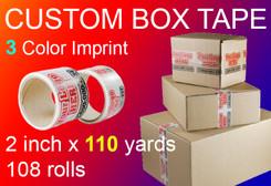 custom box tape 3 Color Imprint 2 inch x 110 yards 108 rolls