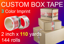 custom box tape 3 Color Imprint 2 inch x 110 yards 144 rolls