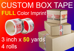 "3"" x 150' Roll of Full Color Custom Box Tape, qty4"